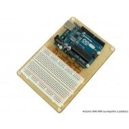 Base de MDF com Protoboard + Parafusos para Arduino UNO
