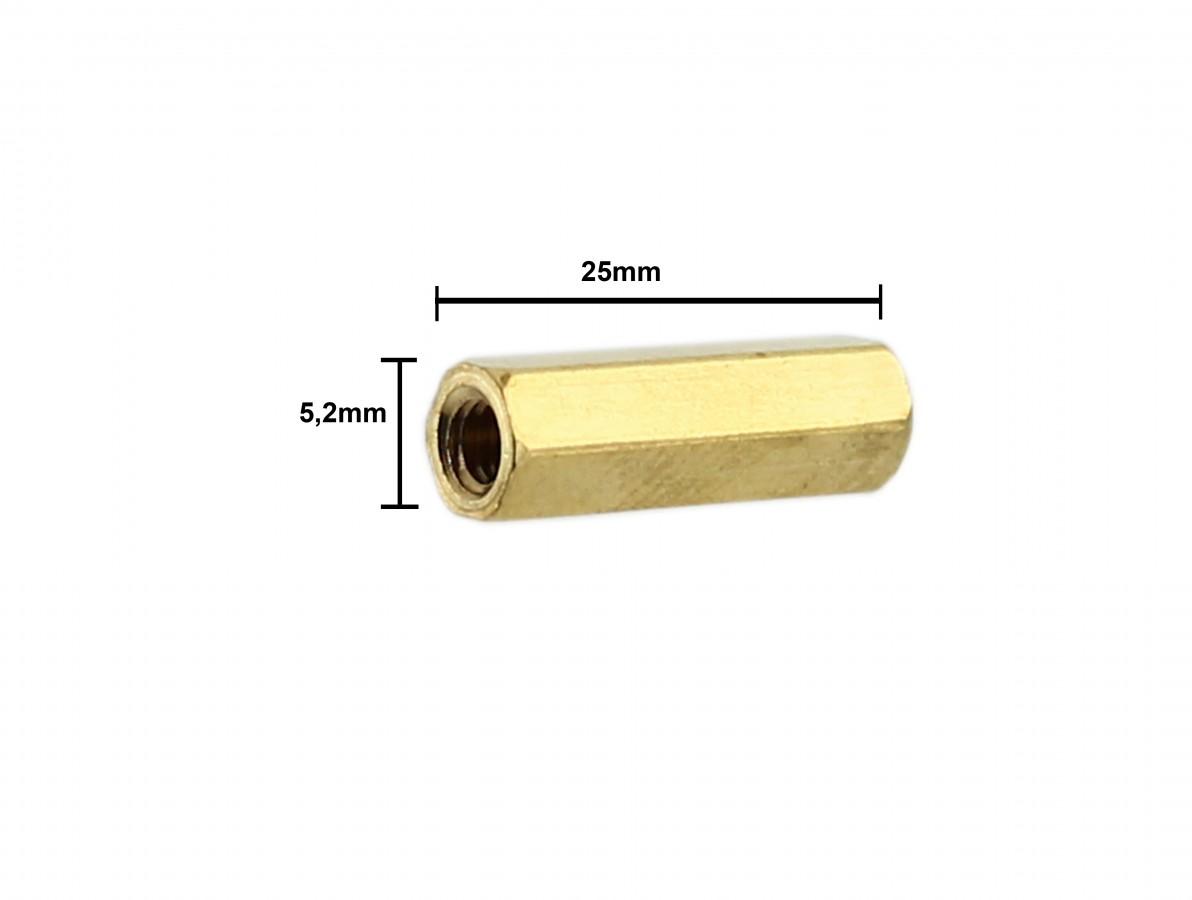 Espaçador Metálico Sextavado de Bronze M3 x 25mm PCB - Fêmea - Kit com 10 unidades