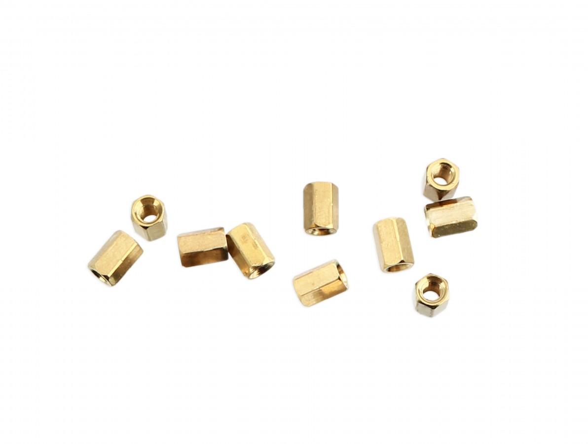 Espaçador Metálico Sextavado de Bronze M3 x 7mm PCB - Fêmea - Kit com 10 unidades
