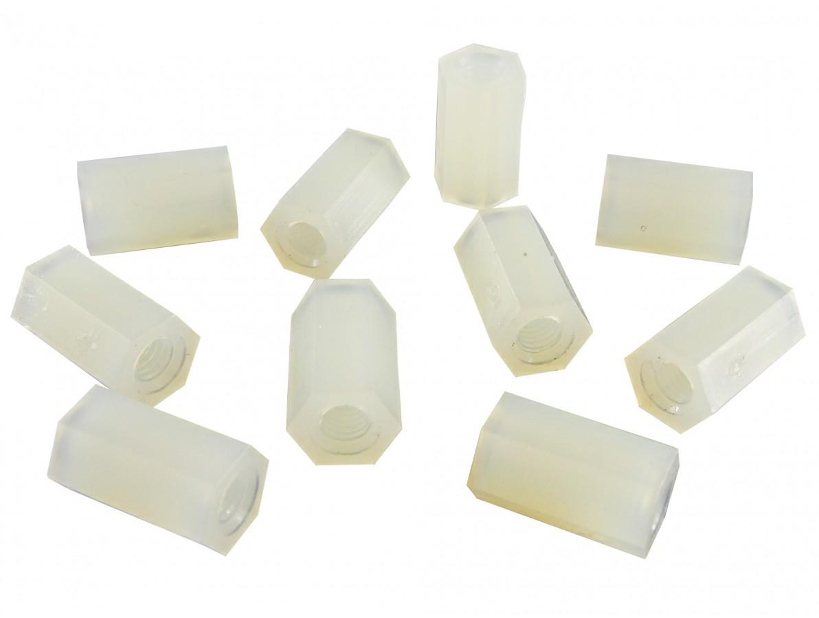 Espaçador Plástico Sextavado em Nylon M3 x 10mm PCB - Fêmea - Kit com 10 unidades