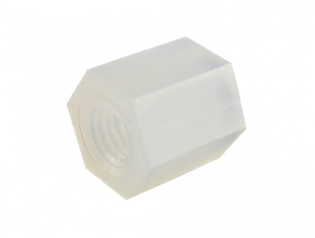 Espaçador Plástico Sextavado em Nylon M3 x 6mm PCB - Fêmea - Kit com 10 unidades