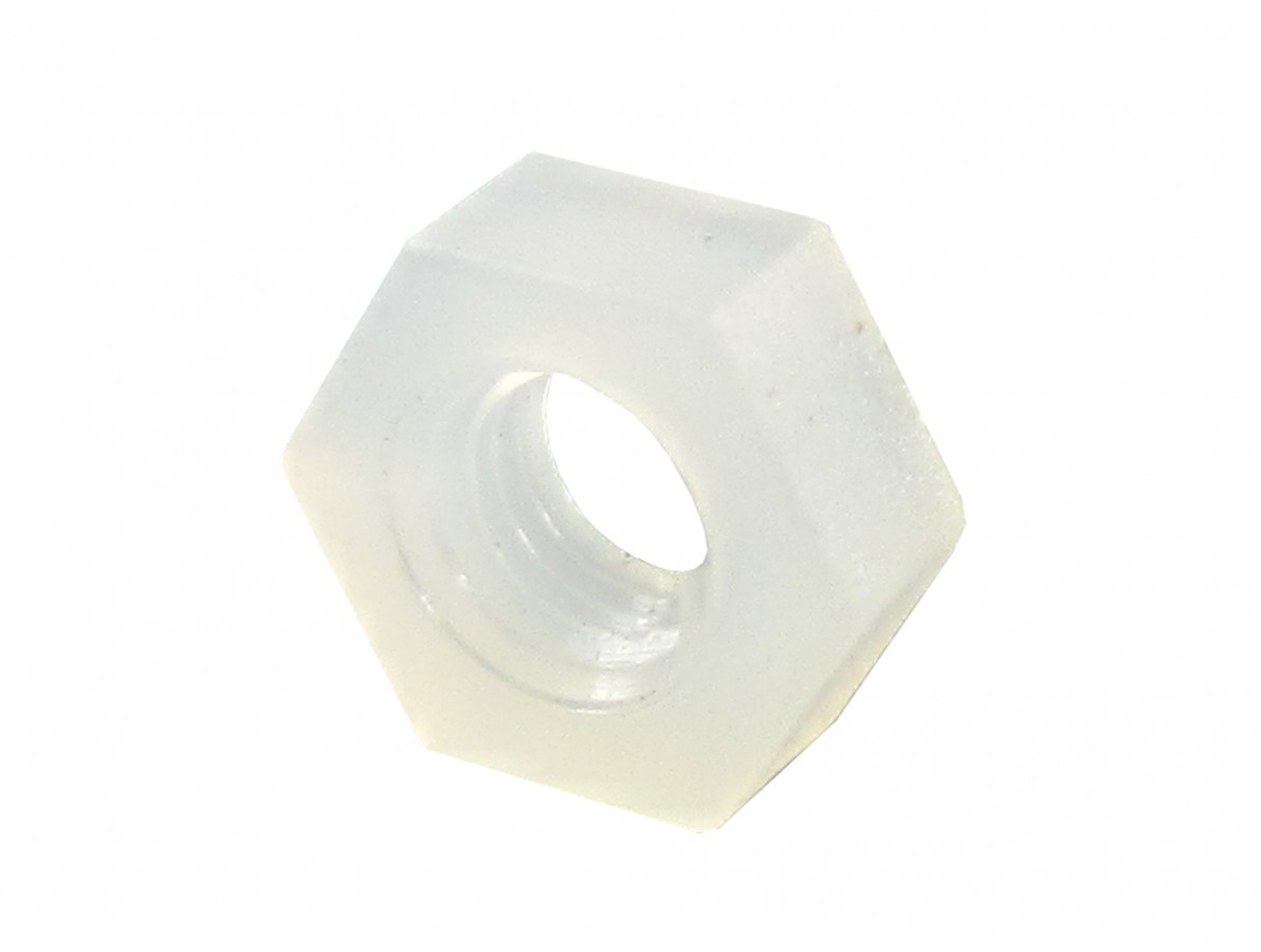 Porca Plástica Sextavada em Nylon M3 - Kit com 10 unidades (Branca)