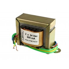 Transformador Trafo 24V + 24VAC 800mA Bivolt de Uso Geral