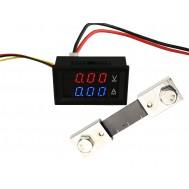 Voltímetro Digital com Amperímetro 100A / 0 a 100VDC - Vermelho/Azul + Resistor Shunt