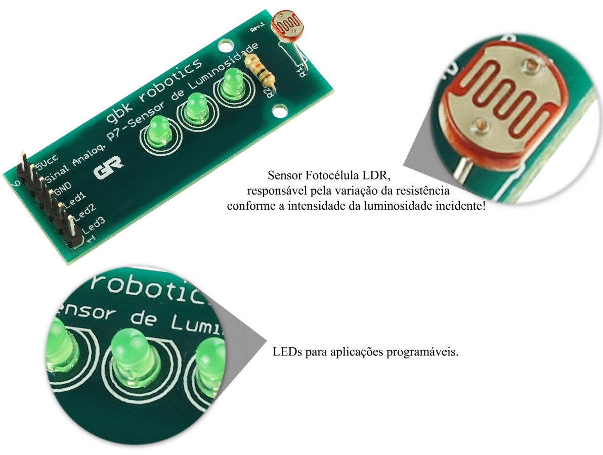 Módulo Sensor de Luminosidade Fotossensitivo com Indicador