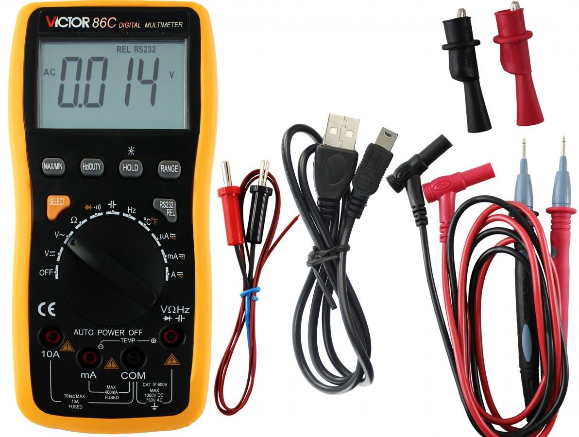 Multímetro / Capacímetro digital com sensor de temperatura e conexão USB - Victor 86C