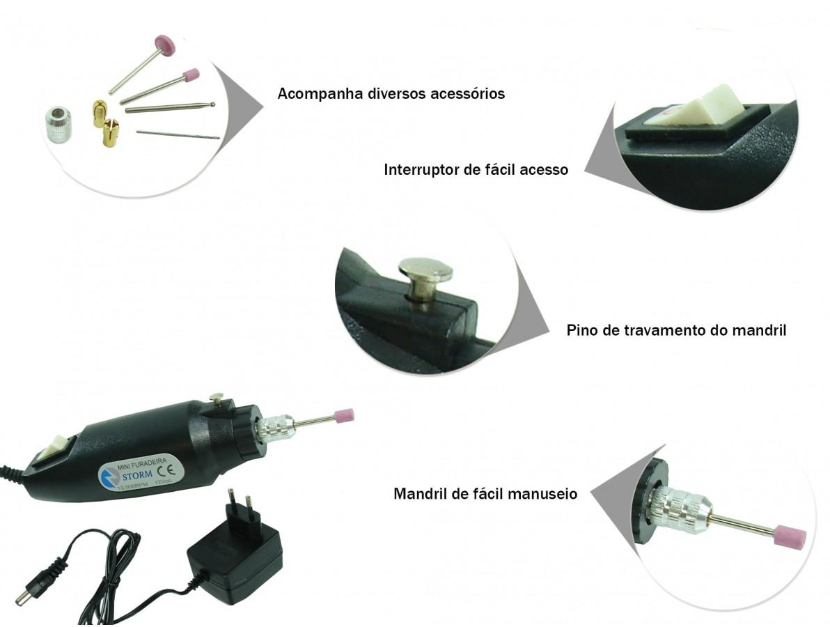 Mini Furadeira / Micro Retífica com Acessórios e Maleta - Bivolt (127V/220V)