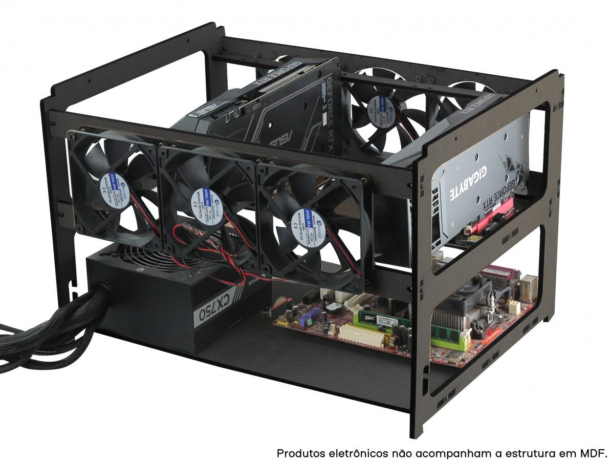 Rig de Mineração para 4 GPUs e 6 Fans MDF 6mm RM4G6F V3 Preta + Manual de Montagem