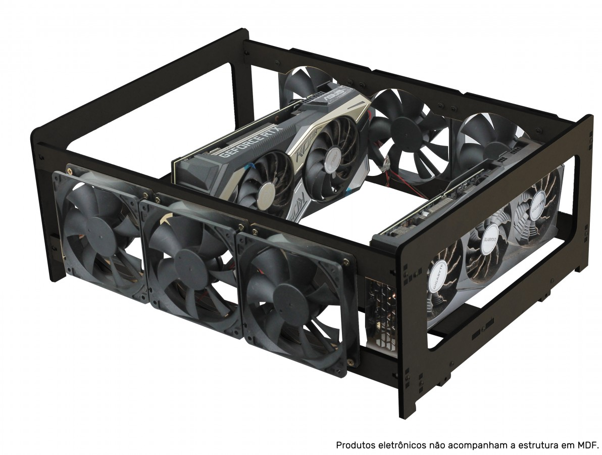 Extensor para Rig de Mineração RM4G6F V3 Preta com 4 GPUs e 6 Fans MDF 6mm + Manual de Montagem
