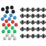 Kit Push Button 12x12 com Capas Coloridas 25 Unidades