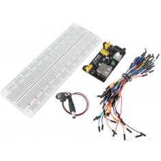 Kit Prototipagem Intermediário com Protoboard 830 Pontos + Jumpers + Fonte e Adaptador - 68 Peças