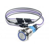 Botão Power 16mm para Rig de Mineração em Alumínio com Fio e LED Azul