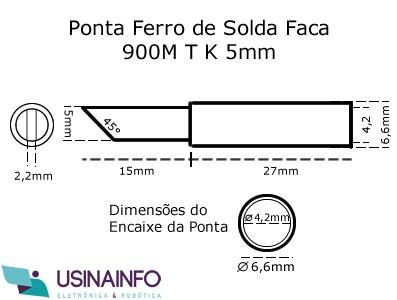 Ponta para Ferro de Solda Tipo Faca 5mm - 900M T K