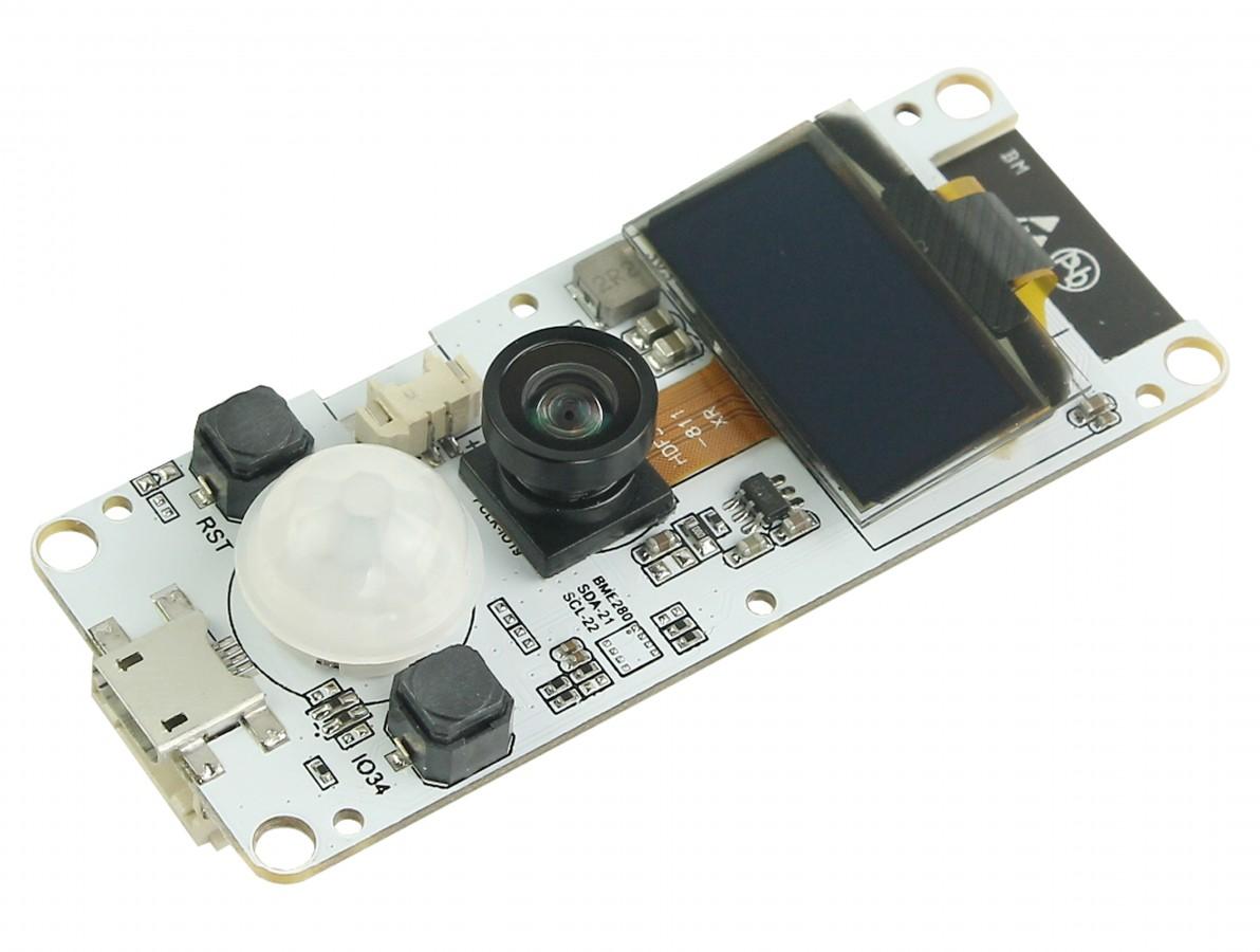 """TTGO T-CAMERA ESP32 IoT com Display Oled 0,96"""" e Sensor PIR + Câmera OV2640 Fish Eye"""