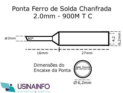 Ponta para Ferro de Solda Tipo Chanfrada 2.0mm - 900M-T-C