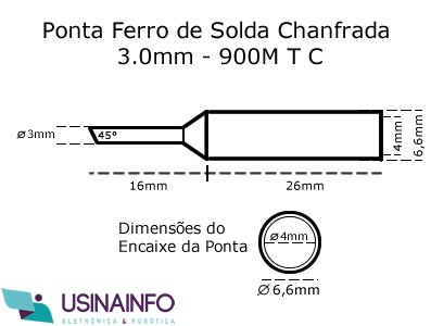 Ponta para Ferro de Solda Tipo Chanfrada 3.0mm 900M-T-C