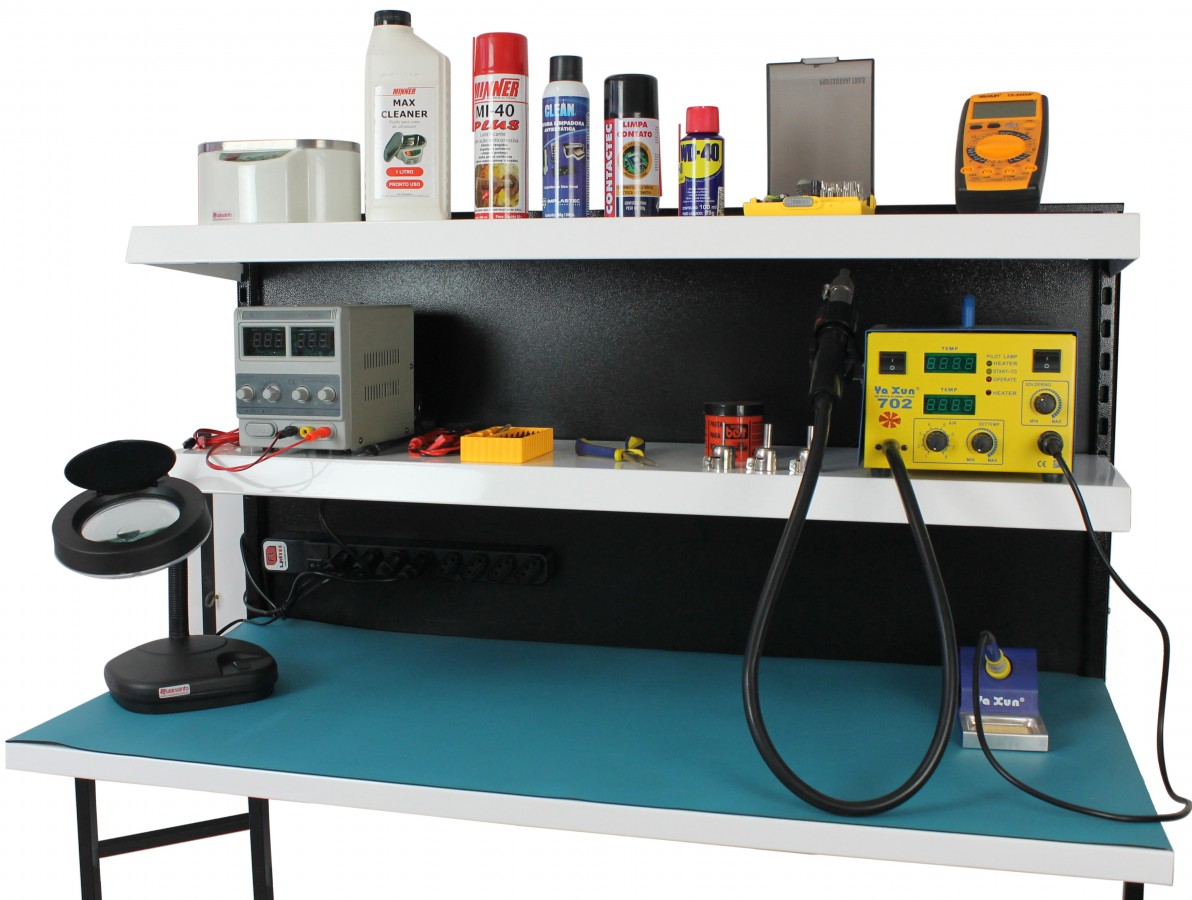 Bancada de Trabalho para Eletrônica com Barra de Tomadas + Manta Antiestática e Cabo de Aterramento - FB1260T