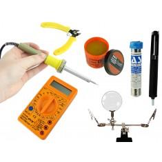 Kit Eletrônica e Solda Iniciante 8 Peças 220V