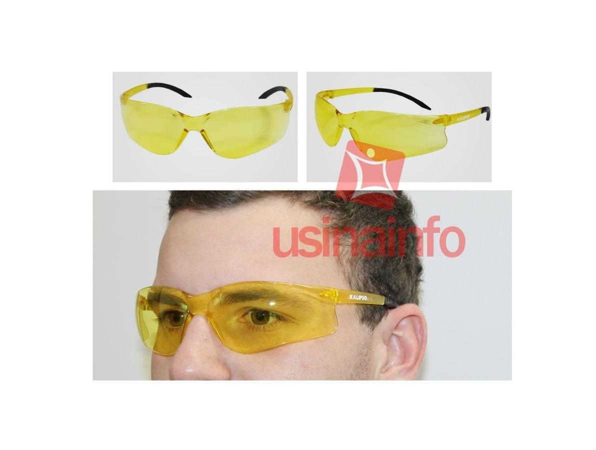 Óculos de proteção e segurança contra luz ultravioleta modelo koala amarelo - Kalipso