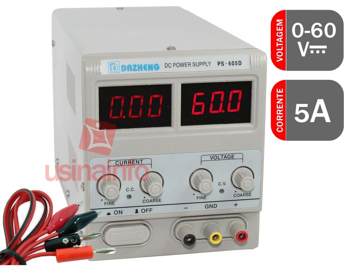 Fonte de alimentação digital variável 5A 60V - PS 605D Bivolt 110/220V