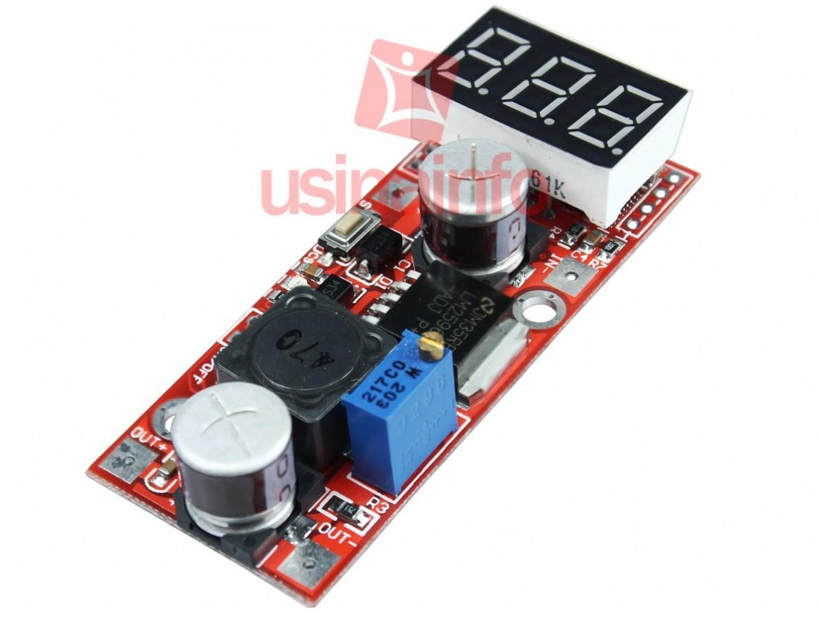 Regulador de Tensão LM2596 Step Down DC-DC Ajustável com Voltímetro