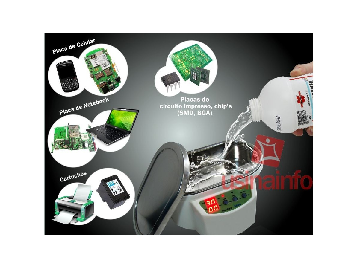 Cuba Ultrassônica Digital Microprocessada para limpeza - 600ml - Yaxun 3560 220V