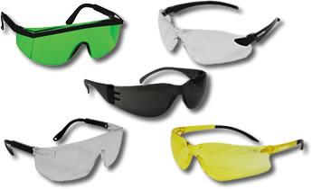 Exemplos de óculos de proteção e segurança