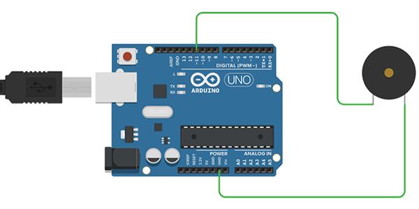 Exemplo de Ligação Buzzer Arduino