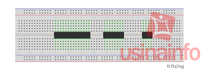 CIs conectados à protoboard