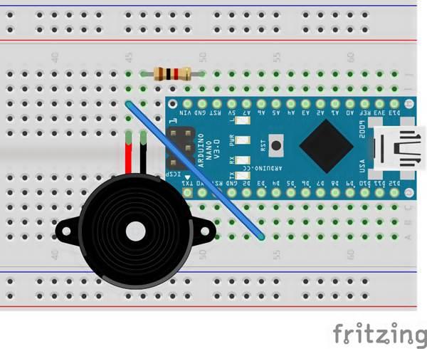Esquemático Projeto Arduino Uno Tocando o Tema do Super Mário