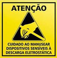 Sinal de alerta contra descargas de energia estática